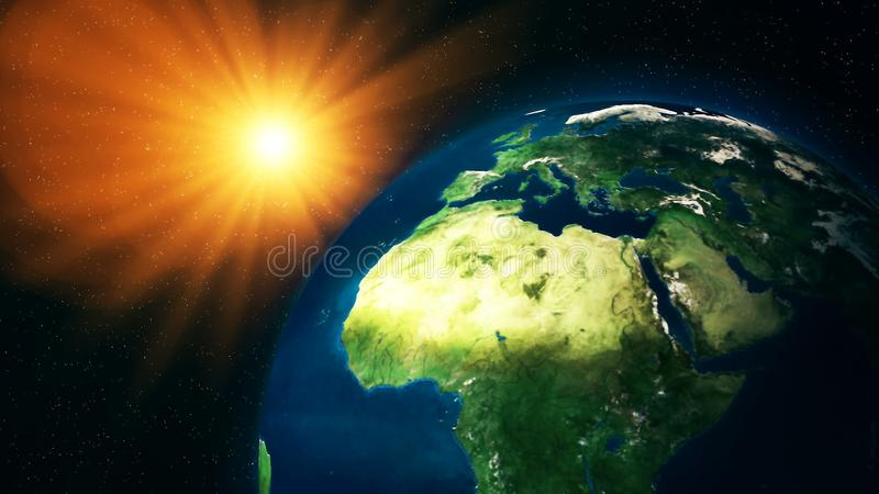 Realistic Planet Earth from space. Abstract Background stock image