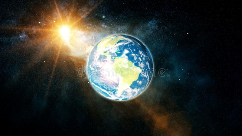 Realistic Planet Earth from space. Abstract Background royalty free stock image