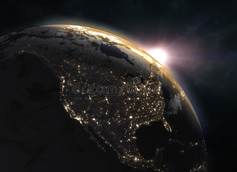 Realistic planet Earth in space. Elements of this image furnished by NASA. 3d illustration royalty free stock photos