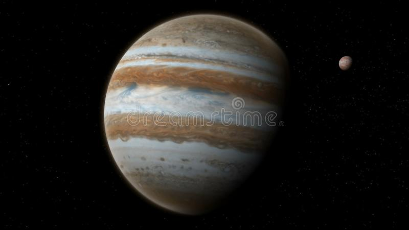 Realistic Jupiter with Europa from deep space. Realistic planet Jupiter with Europa from deep space royalty free stock image