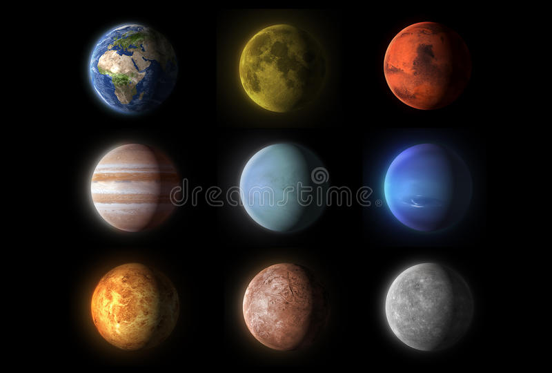 Realistic planets collection, science vector illustration