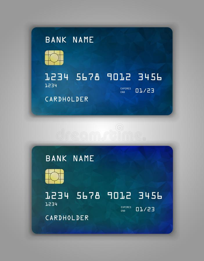 Realistic plastic Bank card vector template. Background color Blue, green, gradient royalty free illustration