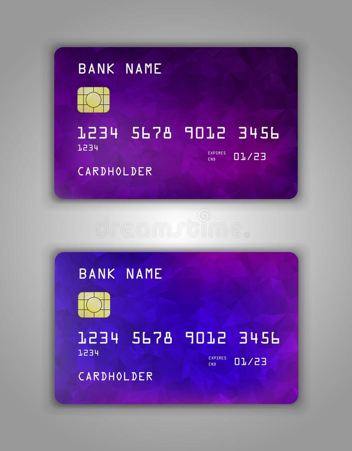 Realistic plastic Bank card vector template. Background color Blue, purple gradient vector illustration