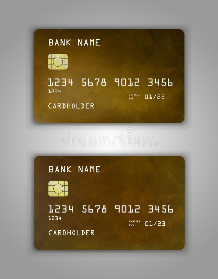 Realistic plastic Bank card vector template. Background color Yellow, brown, gradient vector illustration