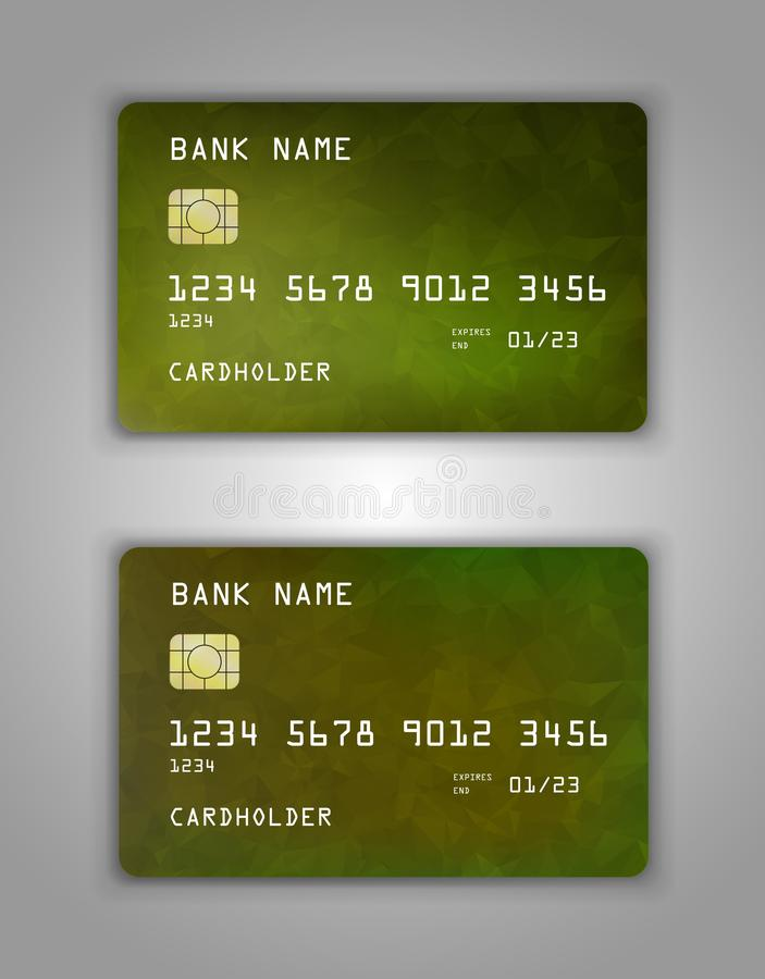 Realistic plastic Bank card vector template. Background color Yellow, green, gradient stock illustration