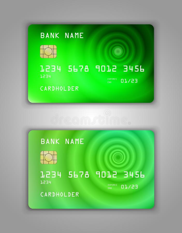 Realistic plastic Bank card vector template. Figure spiral gradient. Background color Green, eco, pharmacy, art stock illustration