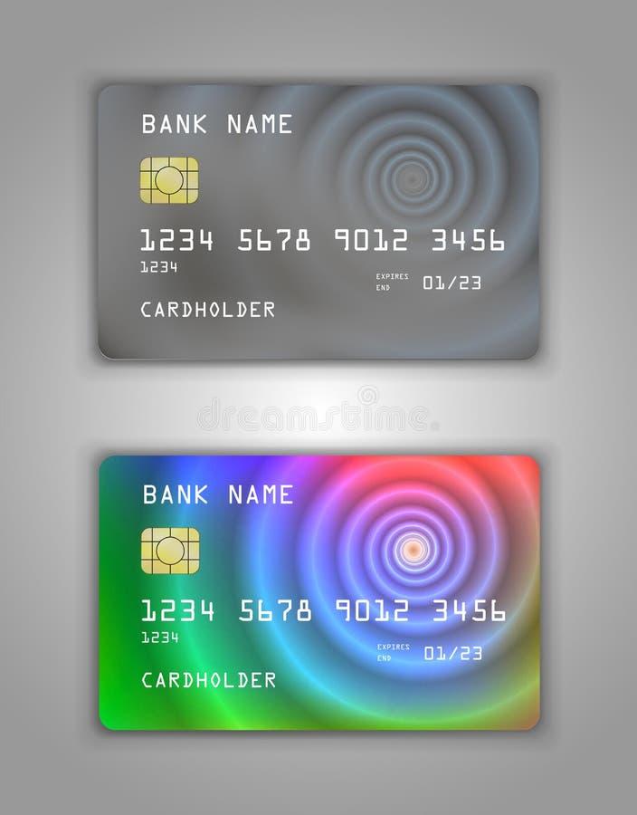 Realistic plastic Bank card vector template. Figure spiral gradient. Background color Grey, multicolor, rainbow.  stock illustration