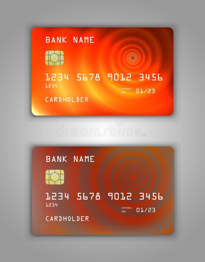 Realistic plastic Bank card vector template. Figure spiral gradient. Background color orange, red, art stock illustration