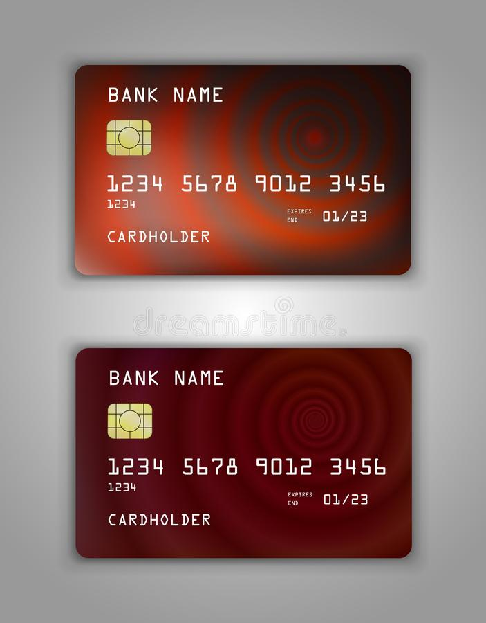 Realistic plastic Bank card vector template. Figure spiral gradient. Background color Red, brown, chocolate vector illustration