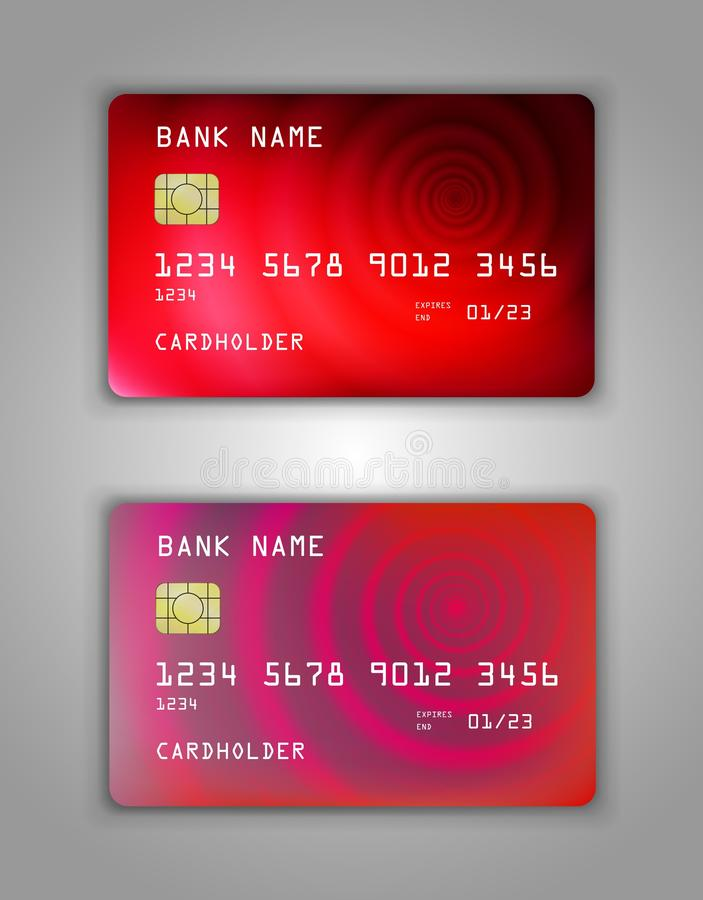 Realistic plastic Bank card vector template. Figure spiral gradient. Background color red, pink, art stock illustration