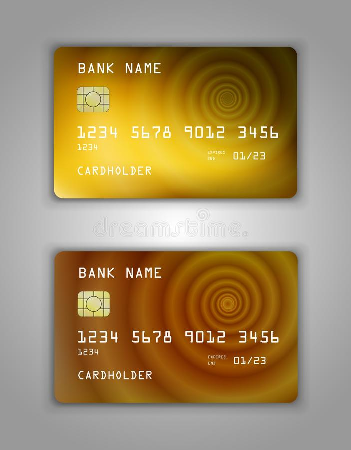 Realistic plastic Bank card vector template. Figure spiral gradient. Background color yellow, brown, gold royalty free illustration