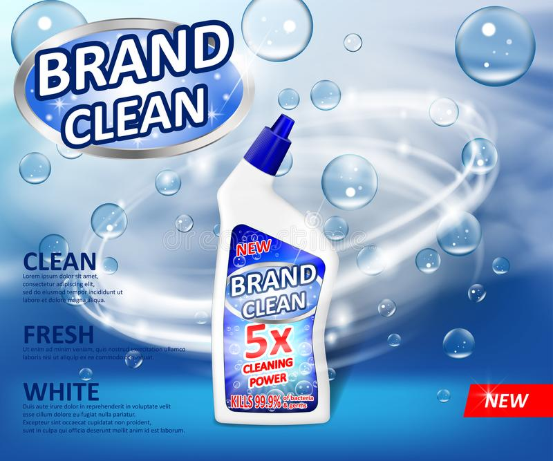 Realistic plastic cleaner container Advertising poster. Liquid detergent with soap bubbles and swirl on blue background stock illustration