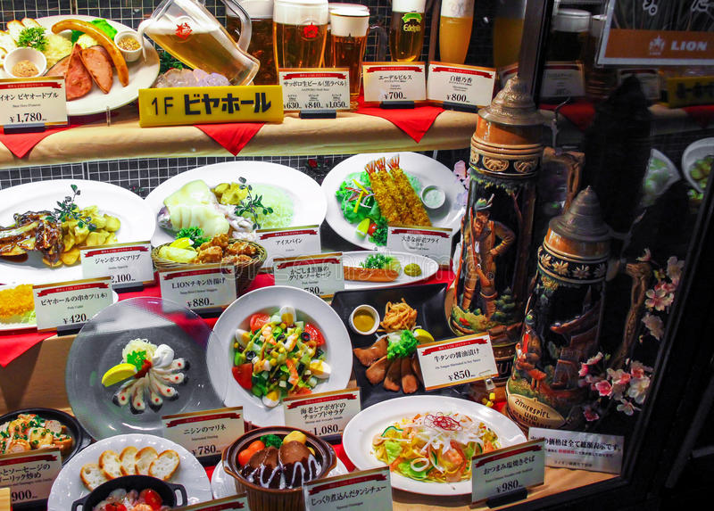 Realistic plastic food display in Japan stock photography
