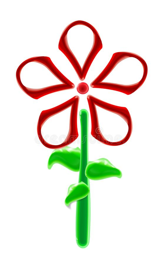 Realistic plastic red flower toy. Modern glossy colorful ornamental floral element in light background. Beautiful decorative vector illustration