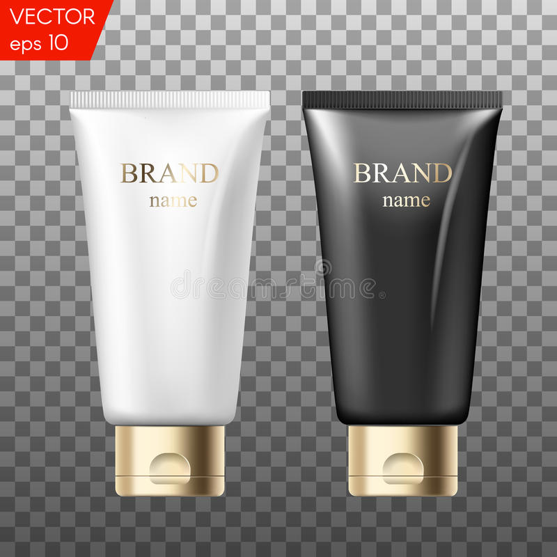 Realistic plastic tubes for cosmetic products. Beauty set of blank template containers for: gel of skincare, hand care royalty free illustration