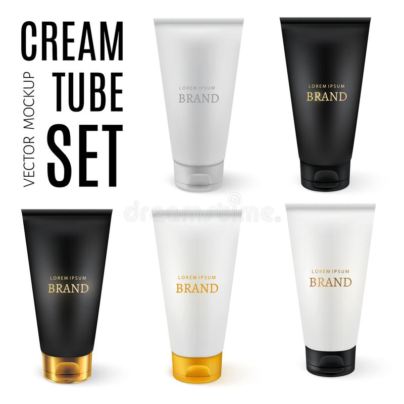 Realistic plastic tubes for cosmetic products. Vector set of blank template containers for gel of skincare, hand care cream, bb, face mask or foundation. White stock illustration