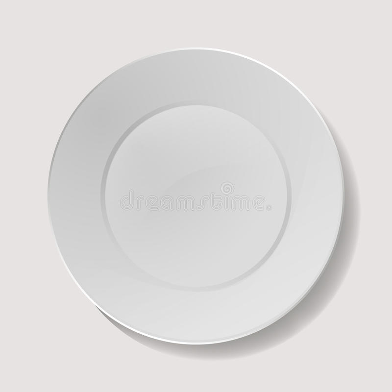 Realistic Plate Vector. Closeup Porcelain Mock Up Tableware . Clean Ceramic Kitchen Dish Top View. Cooking. Realistic Plate Vector. Closeup Porcelain Mock Up stock illustration