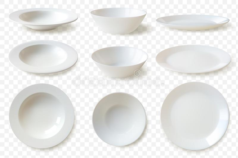 Realistic plates set. set of nine isolated white porcelain plates vector mockup in a realistic style on transparent stock illustration