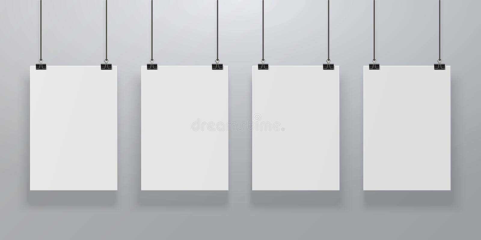 Realistic poster mockup. Blank paper hanging on binders at the wall, empty A4 paper poster clipped on ropes. Advertising vector illustration