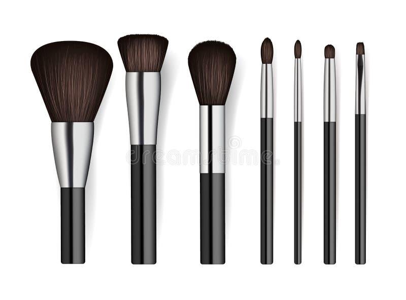 Realistic professional cosmetics brush set vector illustration