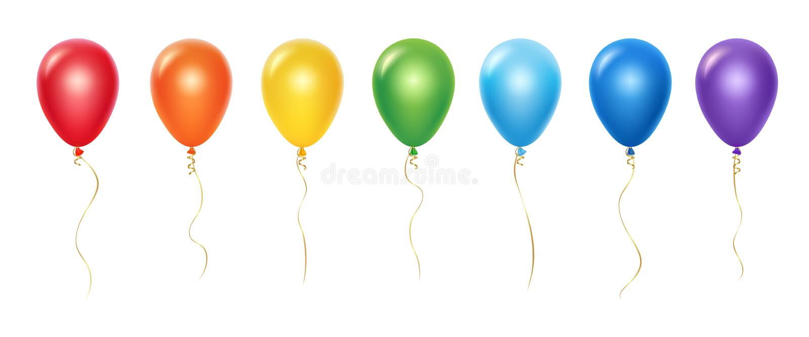 Realistic rainbow balloons vector set. Balloons with ribbons isolated on white background vector illustration