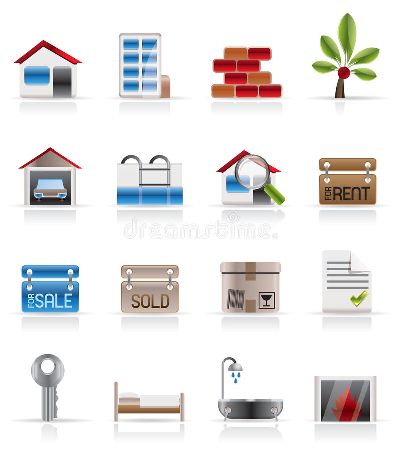 Realistic Real Estate icons royalty free illustration