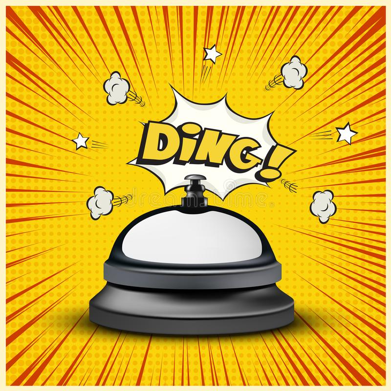 Realistic reception bell and Ding sign on striped comic book or manga style background. Vector illustration. Realistic reception bell and Ding sign on striped stock illustration