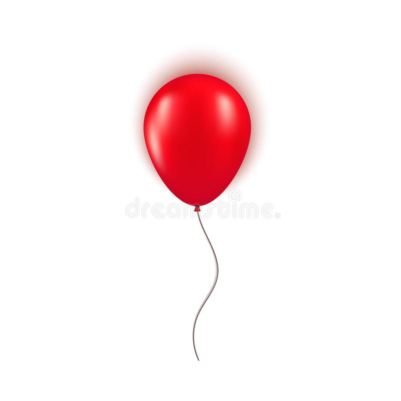 Realistic red balloon isolated on white background. Design element for Birthday party, grand opening or Black Friday royalty free illustration