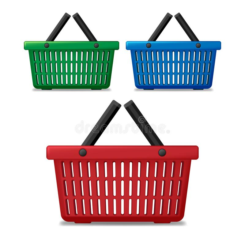 Realistic red, blue and green empty supermarket shopping basket isolated. Basket market cart for sale with handles vector illustration