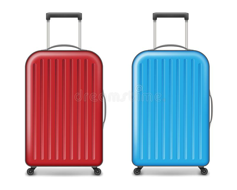 Realistic red and blue large travel plastic suitcase. polycarbonate suitcase with wheels isolated on white. Traveler stock illustration