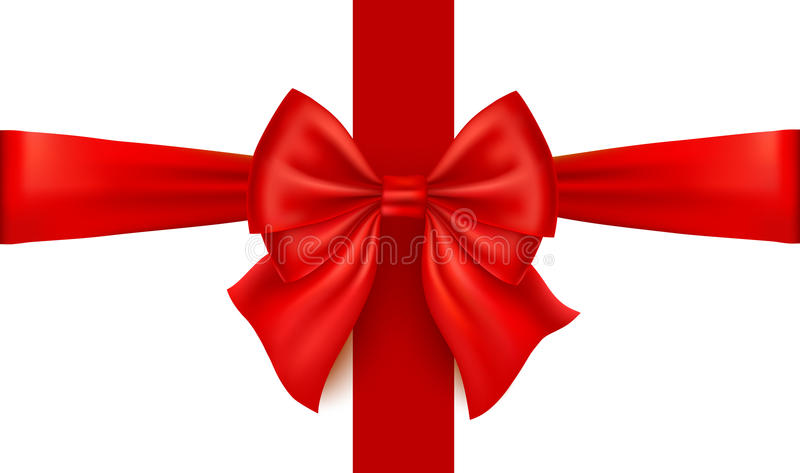 Realistic red bow isolated on white background. Ribbon. Realistic red bow isolated on white background. Gold ribbon. Vector illustration royalty free illustration
