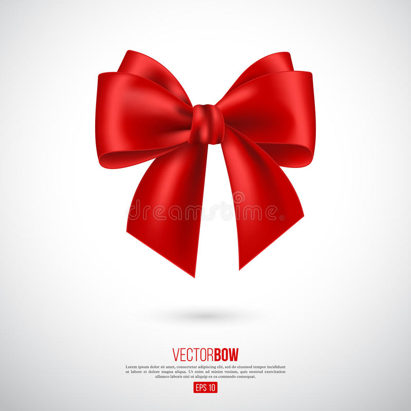 Realistic red bow and ribbon. Element for decoration gifts, greetings, holidays. Vector illustration stock illustration