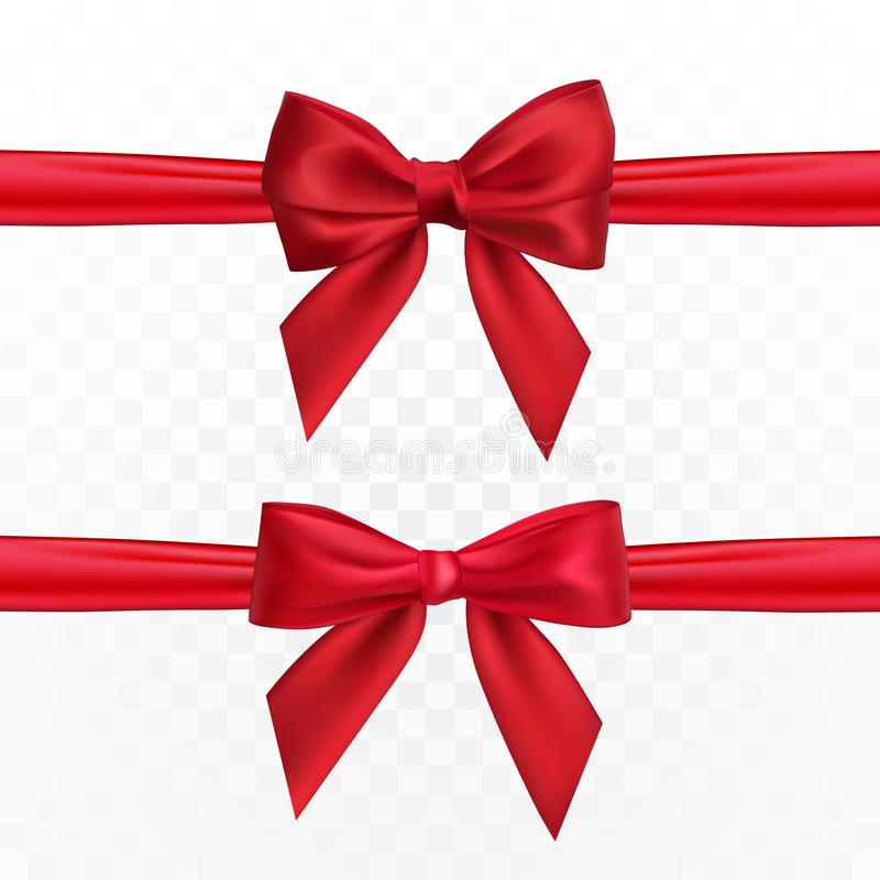 Realistic red bow and ribbon. Element for decoration gifts, greetings, holidays. Vector illustration royalty free illustration