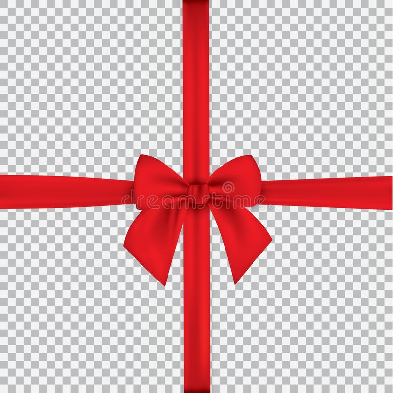 Realistic red bow and ribbon isolated on transparent background. Template for greeting card, poster or brochure. Vector royalty free illustration