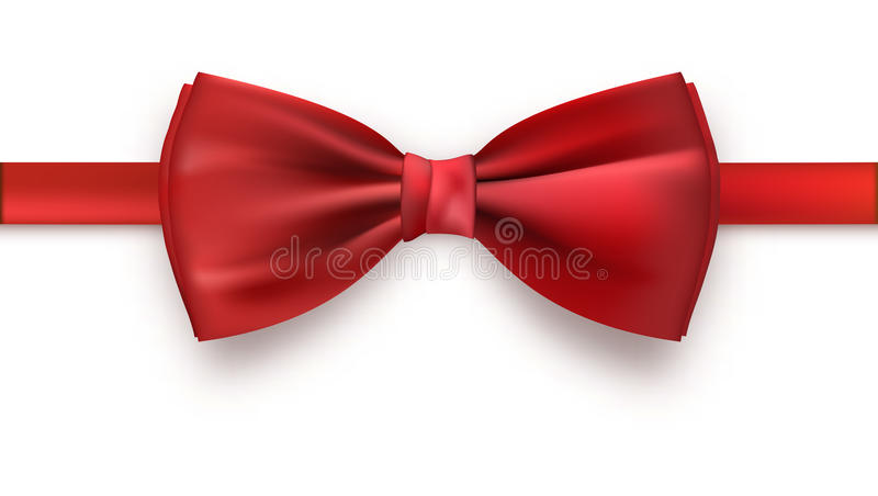 Realistic red bow tie, vector illustration, isolated on white background. Elegant silk neck bow stock illustration