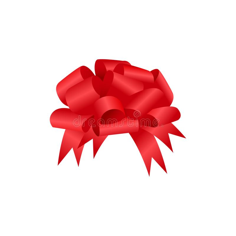 Realistic red bow with transparent shadow. Vector illustration EPS10 isolated on white. Festive decorative element for design. Hol. Iday glossy ornament for gift vector illustration