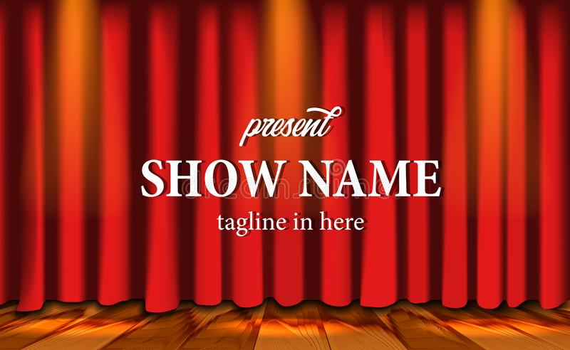 Realistic red curtain stage show at theater with wood floor and lightning stock illustration