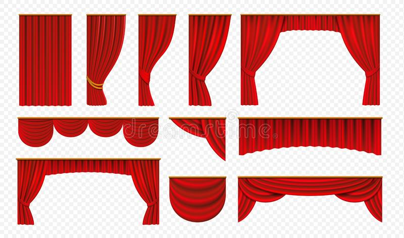 Realistic red curtains. Theater stage drapery, luxury wedding cover decoration, theatrical borders. Vector opera silk stock illustration