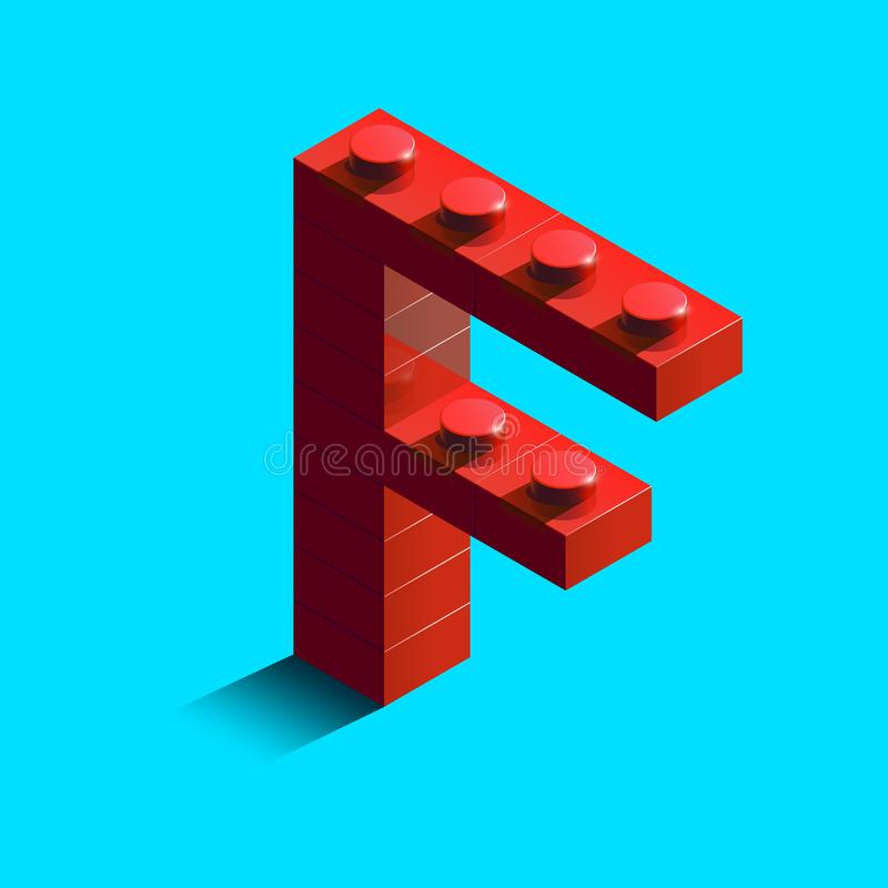 Realistic red 3d isometric letter F of the alphabet from constructor lego bricks. Red 3d isometric plastic letter from the lego building blocks. Lego letters vector illustration