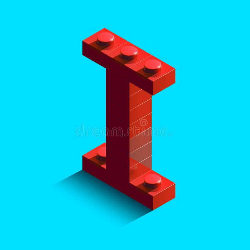Realistic red 3d isometric letter I of the alphabet from constructor lego bricks. Red 3d isometric plastic letter from the lego building blocks. Lego letters stock illustration