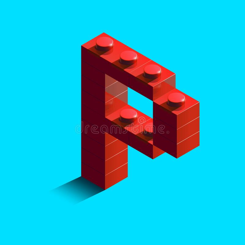 Realistic red 3d isometric letter P of the alphabet from constructor lego bricks. Red 3d isometric plastic letter from the lego building blocks. Lego letters vector illustration