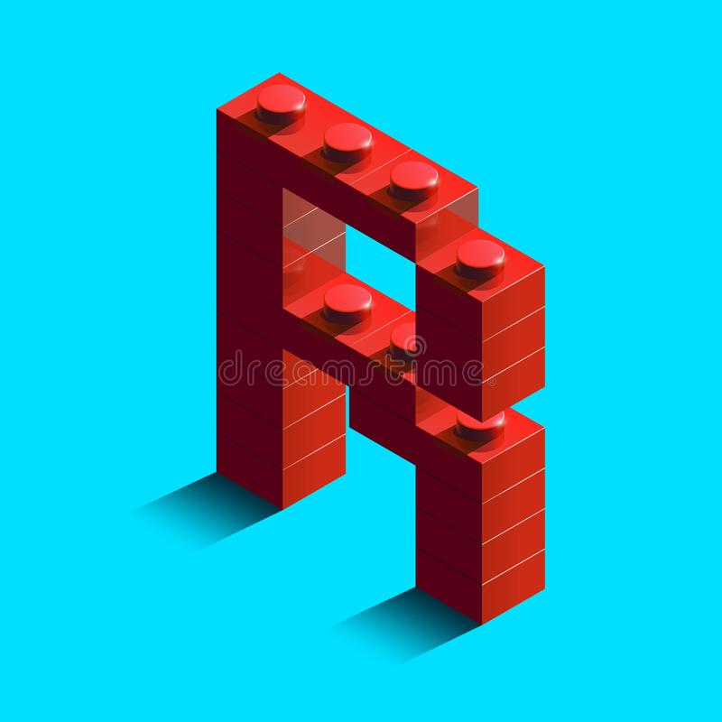 Realistic red 3d isometric letter R of the alphabet from constructor lego bricks. Red 3d isometric plastic letter from the lego building blocks. Lego letters vector illustration