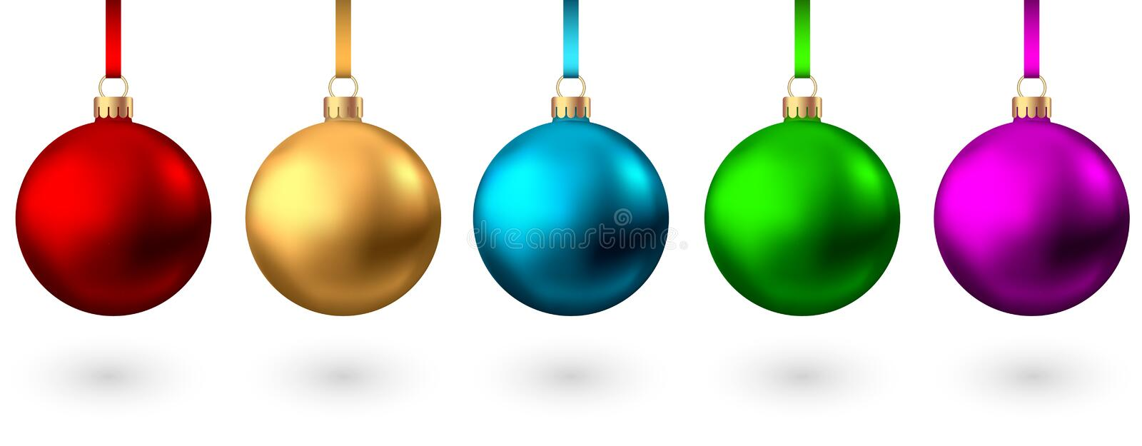 Realistic  red, gold, blue, green, pink, purple   Christmas  balls stock illustration