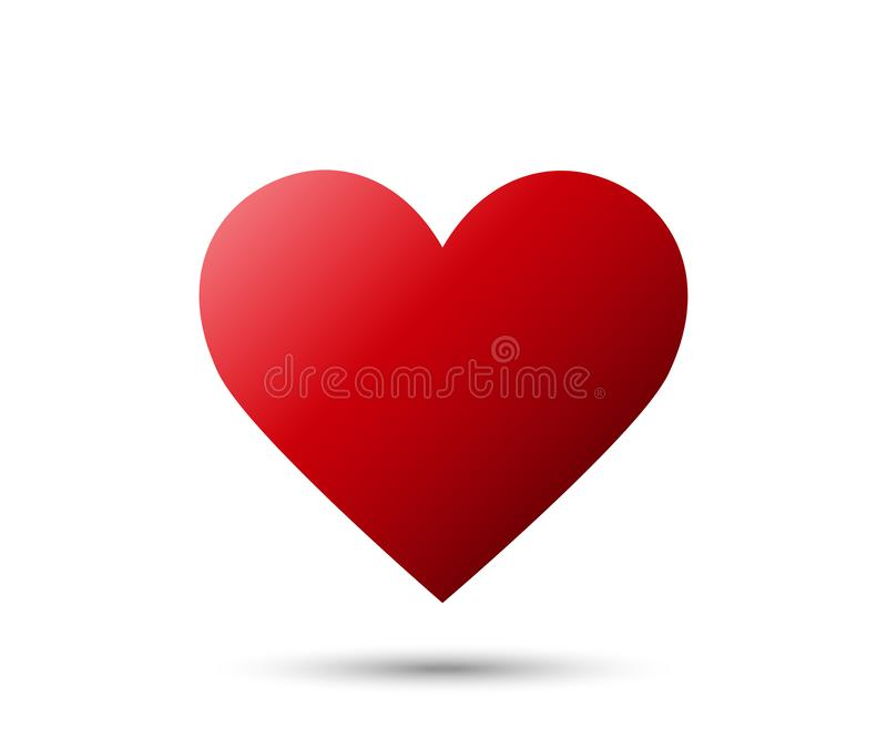 Realistic red Heart icon with shadow isolated on white background. Love emoji stock illustration