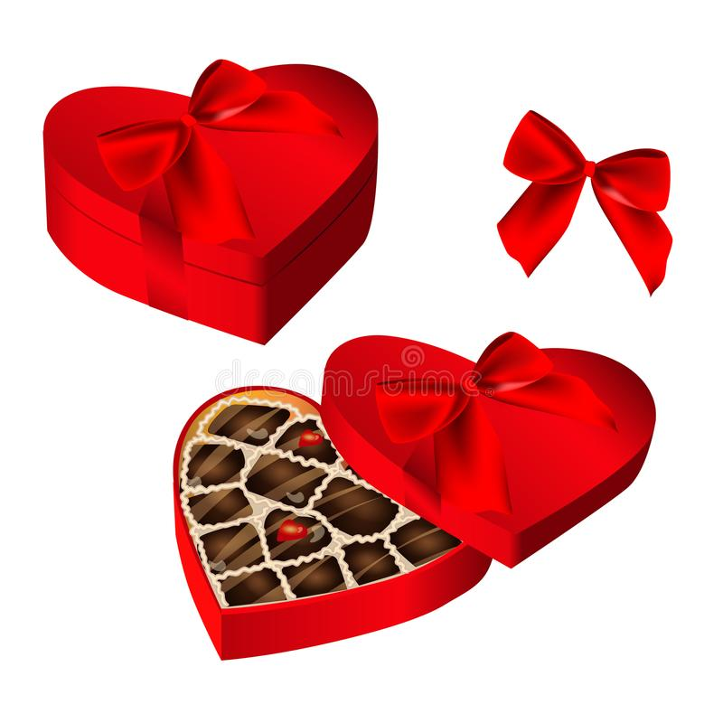 Realistic red heart shaped box of chocolates, tied with ribbon and bow vector illustration
