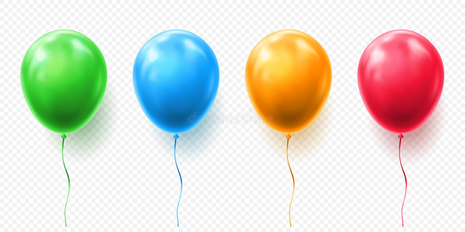 Realistic red, orange, green and blue balloon vector illustration on transparent background. Balloons for Birthday. Festive occasions, parties, weddings royalty free illustration