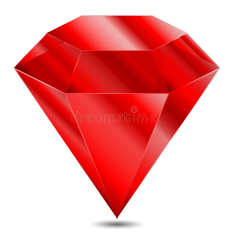 Realistic red ruby on white background vector illustration