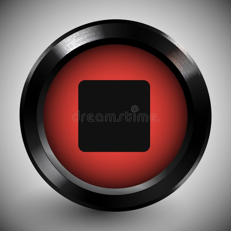 Realistic Red Stop Button Icon Dark Metal Frame stock illustration