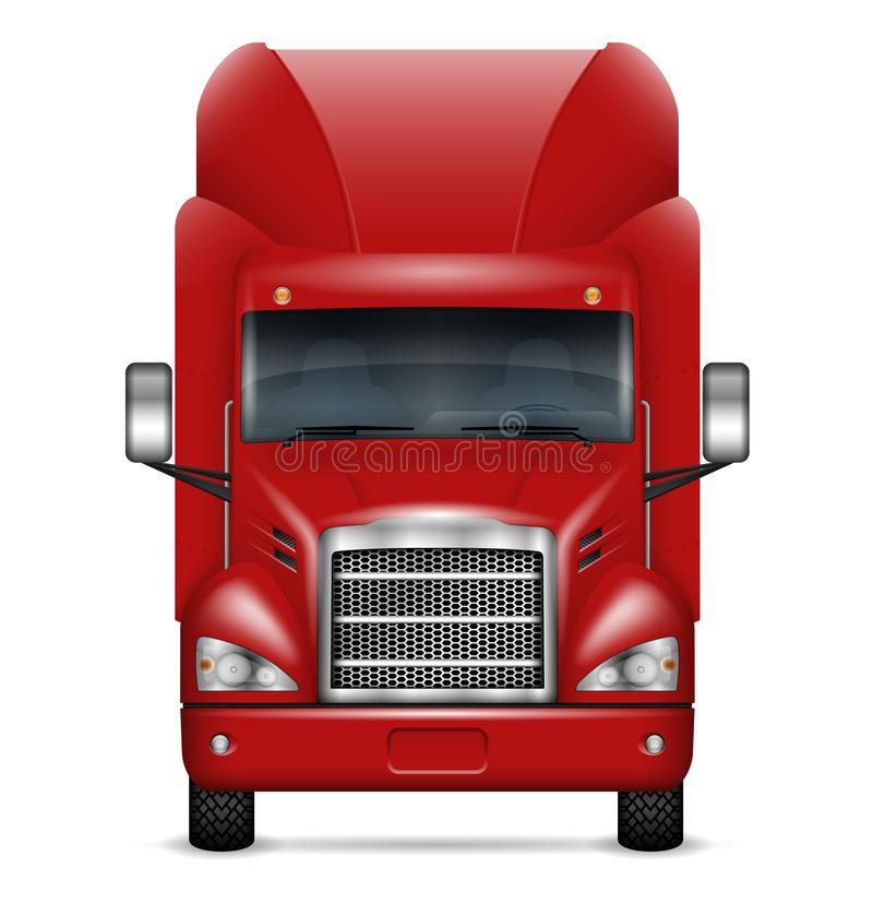 Realistic red truck vector illustration royalty free illustration
