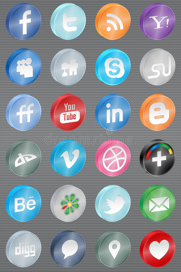Free Realistic Reflect Social Media Icons Royalty Free Stock Photo - 22056185